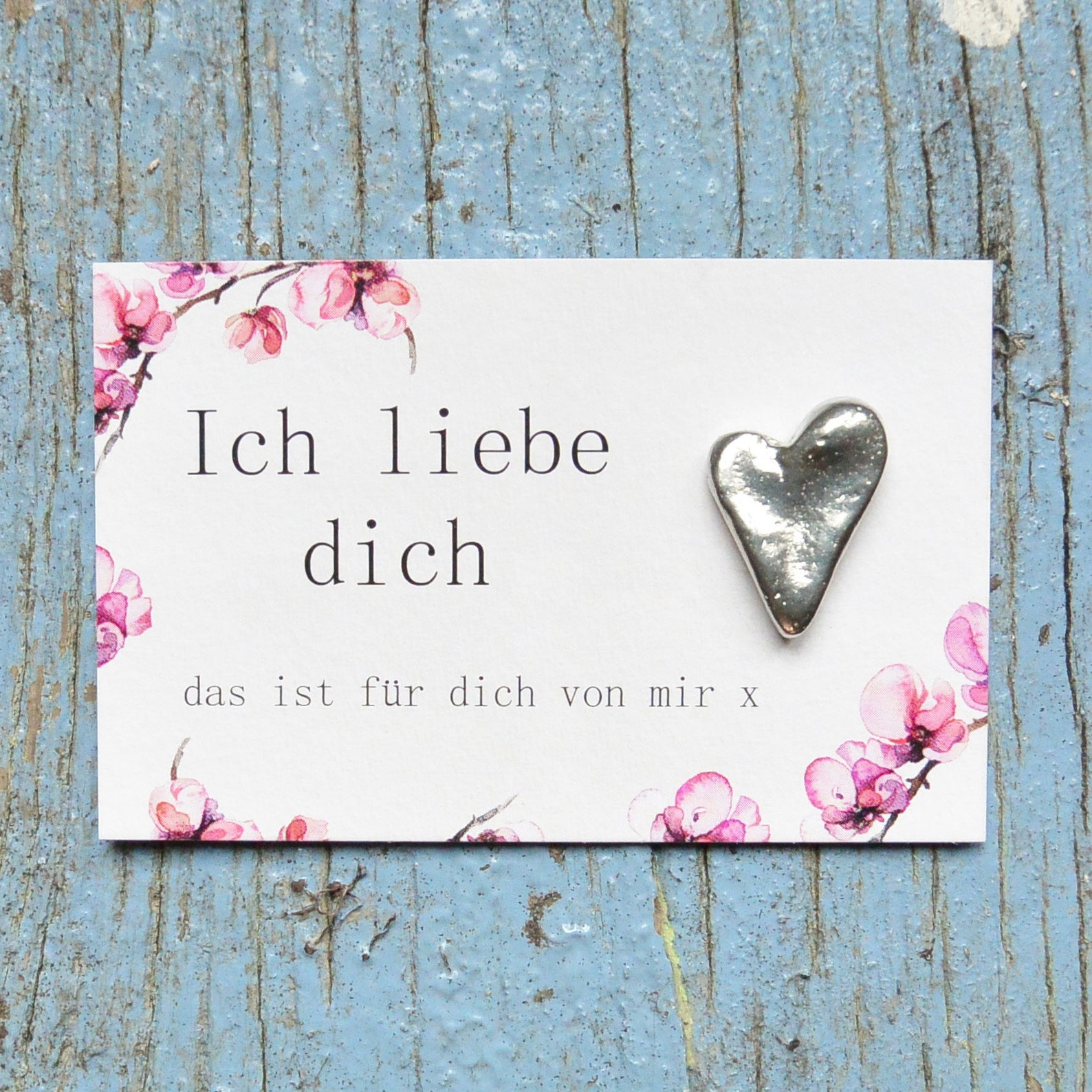 Ich Liebe Dich, Gift Card, Greetings Card, With Handmade Pewter Heart Love Token, by William Sturt