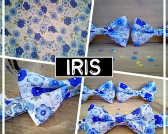 "Collection ""iris"" liberty blue white bowtie men/teen/child/baby"