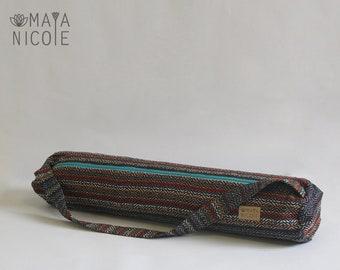 Boho Ethnic Handmade Yoga Mat Bag, Exercise mat bag, Pilates mat bag, Full zipper, Inside zipper pocket