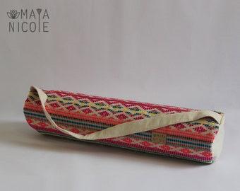 Boho Ethnic Yoga mat bag, Full zipper, Inside zipper pocket, Exercise mat bag, Pilates bag