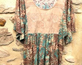 d256fda83ed Large boho tunic, printed jersey, damask plastron, wide mid-length sleeves,  oversize, boho clothing, maternity, UNIQUE creation