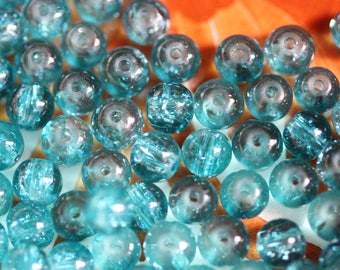 Lot 10 x _ blue Crackle Glass round bead ❤
