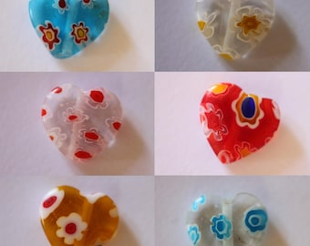 Transparent glass millefiori flower hearts