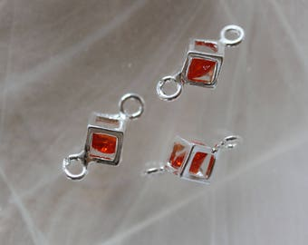 ❥ Connector cube sterling silver - Silver 925 and Crystal