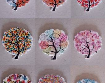 Colorful tree button wooden two holes