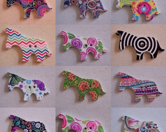Button Zebra patterned colorful wooden two holes