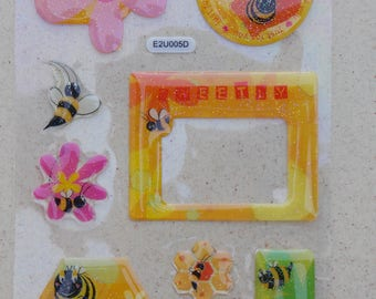 Print stickers in orange flowers bee epoxy stickers