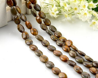 Bamboo Leaf Agate Oval Flat Beads 12*16mm for DIY Jewelry Making