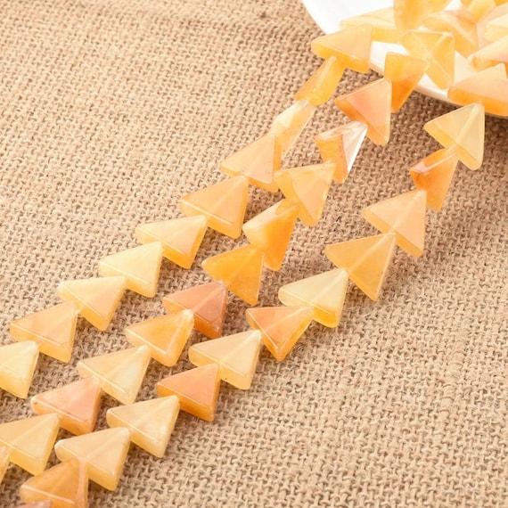 Yellow Jade Triangular big holed beads
