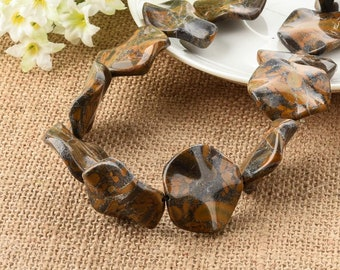 Bamboo Leaf Agate Yellow Wavy Round Gemstone Beads 30mm
