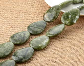 Chrysoprase Drop Leaf Loose Beads 30*40mm for DIY Jewelry Making