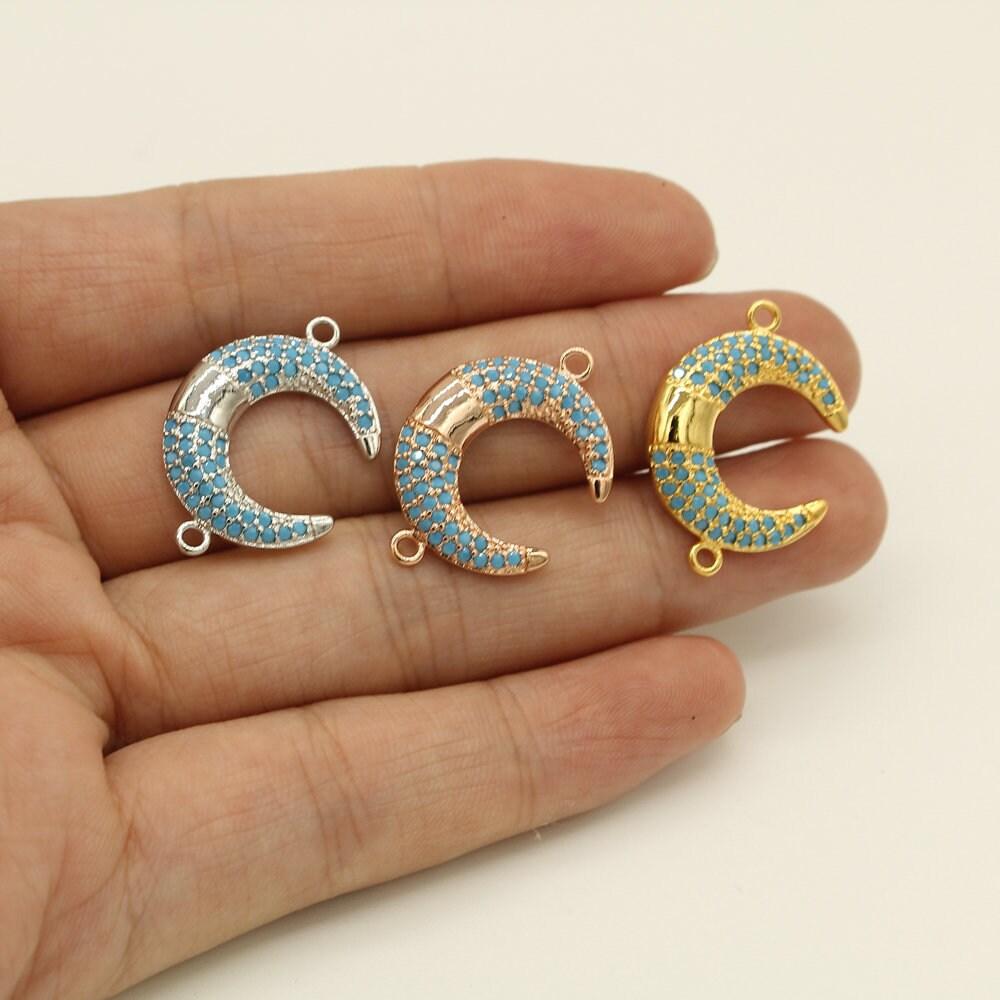 17 * 25mm breloque/pendentif/collier lune, or/rose or et et or d'argent de la lune Collier/pendentif/breloque, 66927e