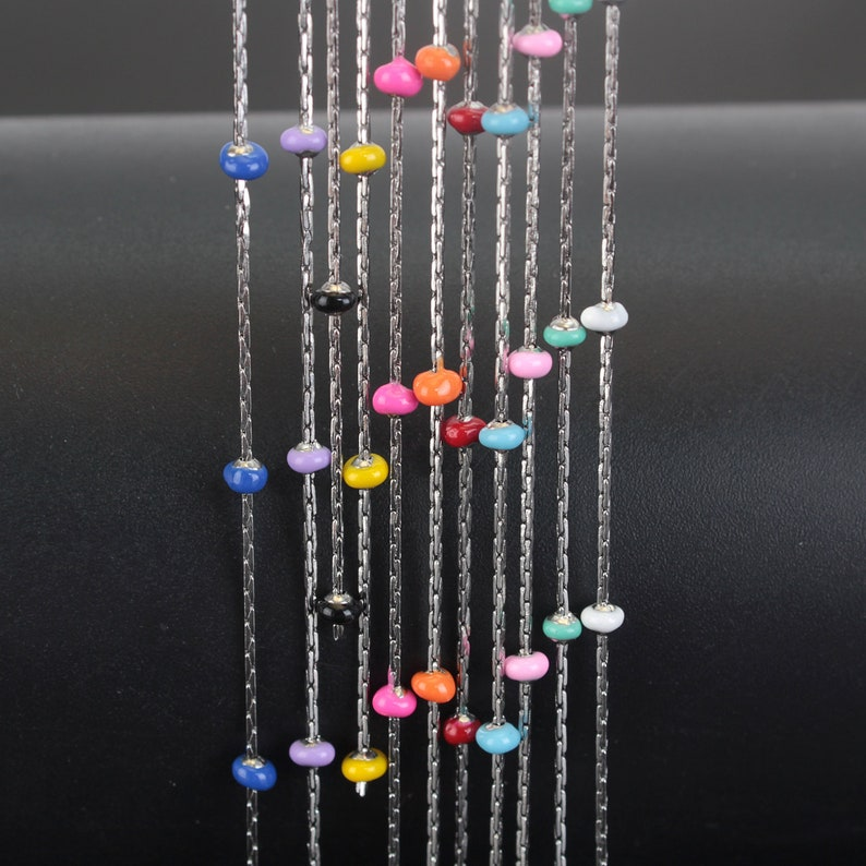 3mm Multi Color Epoxy Ball Chain for Jewelry Making 1510 Meters Rosary Chain Primary Color Stainless Steel Enamel Bead Chain Wholesale