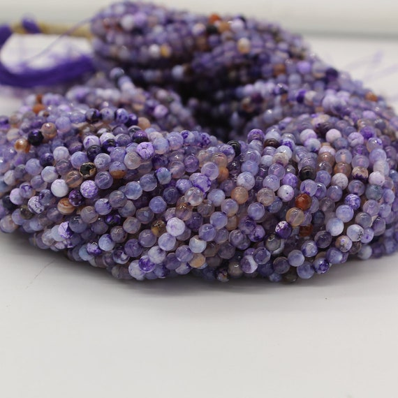 Agate Beads Purple Dyed Fire Agate Rondelle Bead Strand Purple Fire Agate Beads
