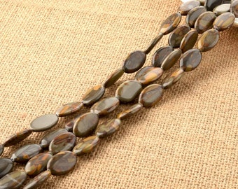 Bamboo Leaf Agate Oval Flat Beads 13*20mm for DIY Jewelry Making