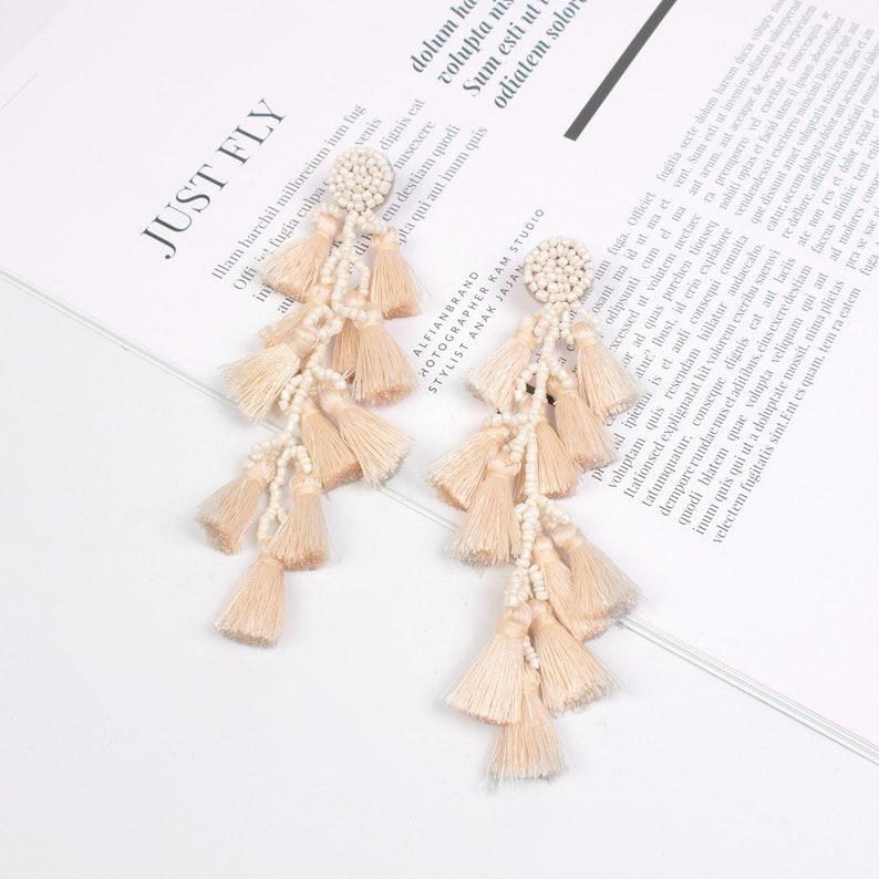 Long Tassel Earrings Dangle Drop Earrings Summer Jewelry Fashion Accessories Statement Earrings Red Silk Thread Festival Gift for Her