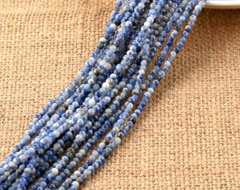 One Strand 3mm Blue Spot Round Beads, Sodalite Beads , Natural Gemsotne Beads for Jewelry Making,