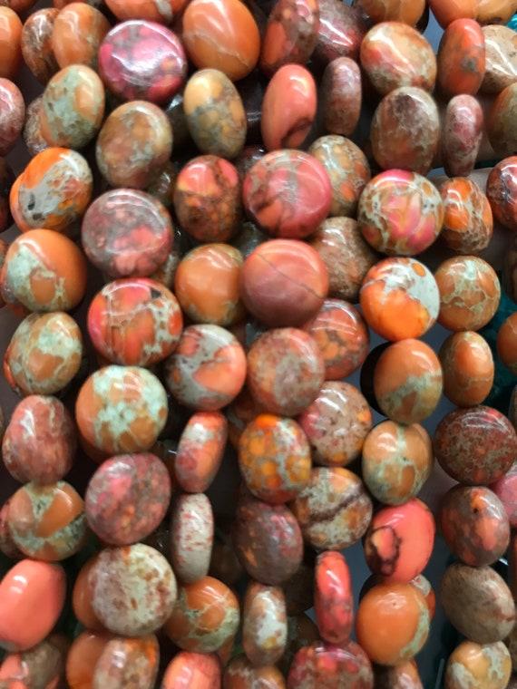 10 Gorgeous Coin shaped Aqua Terra Jasper Gemstone Beads 10 mm