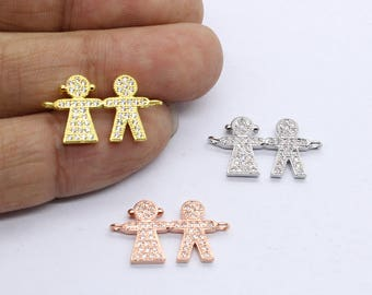 Pave CZ Couple in Love Connectors 25*13mm