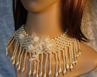 Crystal bridal necklace ivory and lace