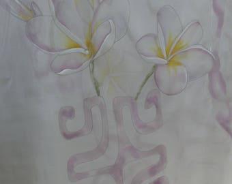 painted chiffon shawl with silk plumerias