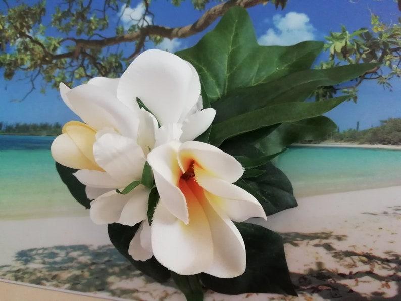white frangipani hairstyle clamps image 0