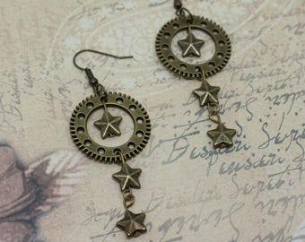 Earrings steampunk clockwork gear star earrings, watch, bronze, Gothic, pirate, festival