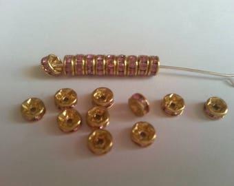 spacer rhinestone pink 4mm 20 beads.
