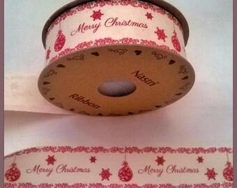 Spool of 3 m of Ribbon Christmas Merry Christmas