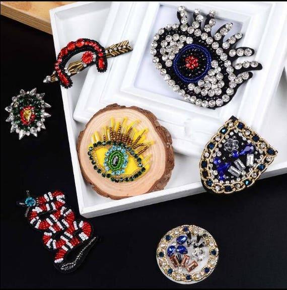 snake rhinestone applique art deco couture crystal etsy. Black Bedroom Furniture Sets. Home Design Ideas