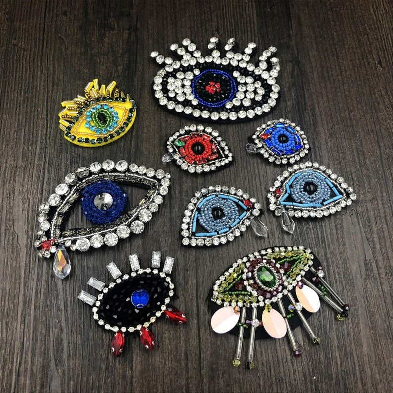 1 Pair Fancy Beaded Eyes Patch Eyes Crystal Patchsewing On Etsy