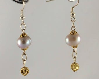 Earrings with grey pearls backed old-gold and silver-