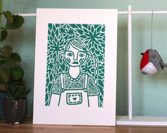 Linocut: Girl in the garden. Illustration, Linocut, handmade. Mural, home decoration.