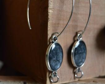Silver earrings - Through earrings - Black earrings - Black ebony earrings