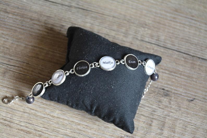 Bracelet Argent Noir Blanc Personnalisé Petits Et Ajustable Prénoms Cabochons mn8wN0