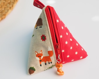 Purse berlingot fabric patterns fox and forest animals small red peas charm fox fimo, original gift idea woman