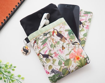 Mobile phone case in exotic fabric toucans, practical Smartphone case, Iphone pouch with pocket, original gift idea woman Christmas