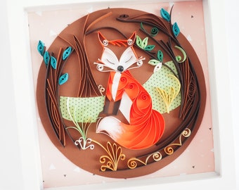 Quilling fox painting in the forest, 3D paper art, embossed wall decoration, animal quilling, children's bedroom décor, original gift