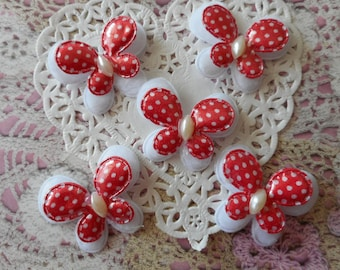 Butterfly red and white polka dot fabric, white oval half-Pearl, 4.00 cm wide by 5 butterflies.