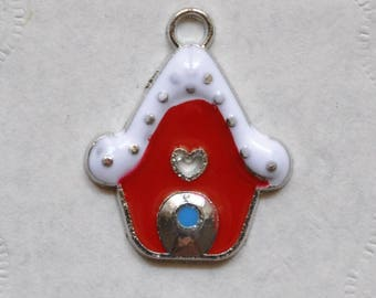 Charm Christmas silver enamelware cottage white and Red 2.50 cm tall.
