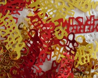 Merry Christmas red and gold sequins plastic 4,00 cm width (per 60 sequins).