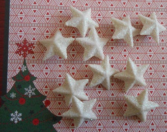 Star glitter, white, silver, plastic, Christmas ornaments, 2.00 cm wide by 18 stars.