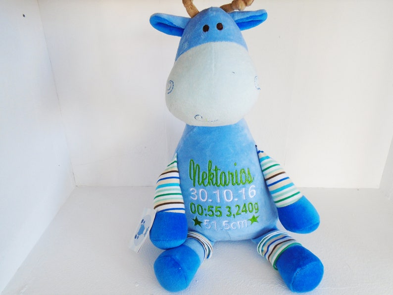 Giraffe New baby Personalised Embroidered Teddy Christening Blue Cubbies