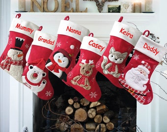 Personalised Christmas stocking embroidered, red stocking, first christmas, name stocking, christmas gift, personalised stocking