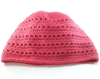 Hat in acrylic and alpaca, Red Raspberry, mixed pattern