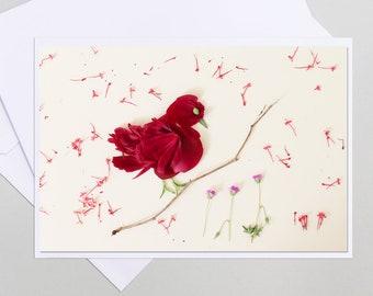 Bird in flower petal, greeting card, postcard flower dryer, customizable, pretty bird in flower greeting card, pink, bird,