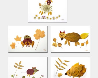 5 postcards small leaf animals, land-art leaves animals, mouse, fox, herisson, frog and sheep leaves,