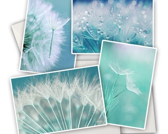 4 turquoise dandelion greeting cards, dandelion seeds, turquoise flower cards, blue dandelion macro photo, botanical photo cards,
