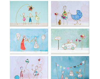 6 small photos characters in kraft twine and colored paper, wall decoration room, photo paper figurines,