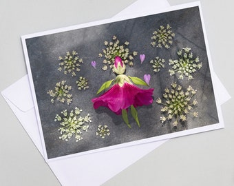 Doll card in tremiere rose flower, greeting card, postcard seche flower, customizable, pretty wish card flowers seches,